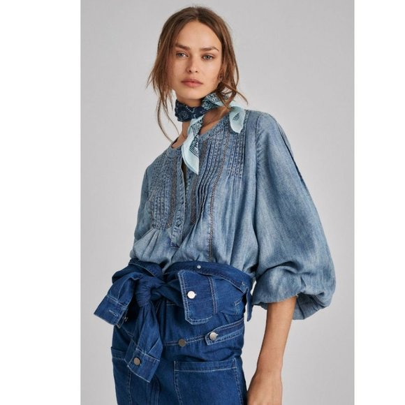 Anthropologie Norah Pintucked Blouse Small